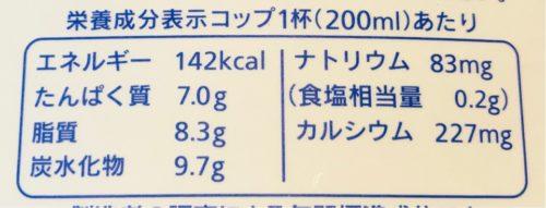 こんせん72牛乳のカロリー