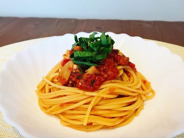 トマト缶を使ったパスタの画像
