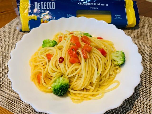 ディチェコ スパゲッティーニを使ったペペロンチーノ