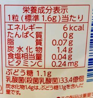 食べる乳酸菌 タブレットのカロリー