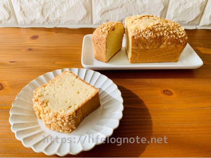 ベーキングパウダー・バターなし アーモンドパウンドケーキのレシピ