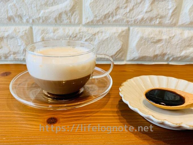 ホットコーヒー アレンジレシピ 黒蜜豆乳オレ